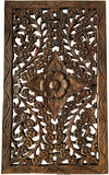 "Wood Carved Wall Panel. Hand Carved Floral Wall Art Decor. Rustic Wall Decor. Dark Brown Finish Size 24""x13.5""x0.5"""
