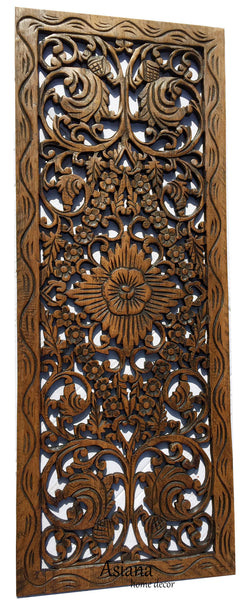 Asian Home Decor Floral Wood Carved Wall Panel Wall Art
