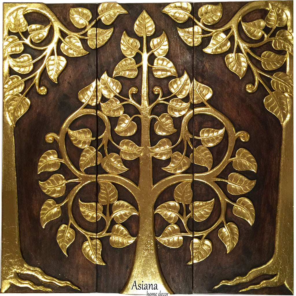 Asian Wood Sacred Fig Tree Relief Wall Art Panels Elegant Gold Leaf Wood Carved Wall Plaque Dark Brown And Gold Size Options Available