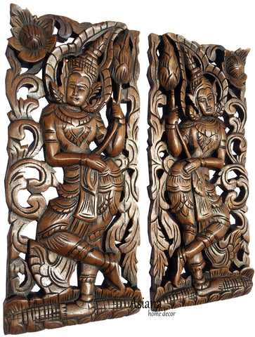 "Clearance Welcome Carved Wood Wall Sculpture. Oriental Thai Wood Wall Decor. Size 17.5""x7.5""x1"" Each, Set of 2 pcs."