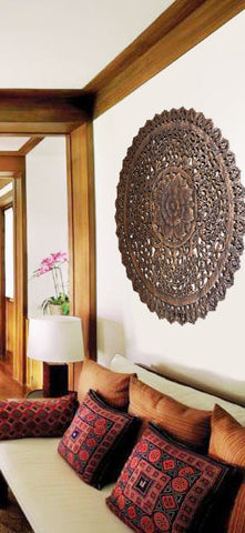 Elegant Medallion Wood Carved Wall Plaque. Round Wood Carved Floral Wall Art.  Asian Wood