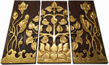 Clearance Asian Wood Sacred Fig Tree and Lotus Flower Relief Wall Art Panels. Elegant Gold leaf Wood Carved Wall Plaque. Dark Brown and Gold. Size Options Available