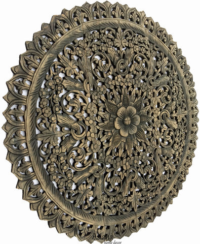 "Elegant Medallion Wood Carved Wall Plaque. Floral Bali Rustic Home Decor Wall Art. Asian Home Decor Wall Panels Size 36"" Color Options Available"