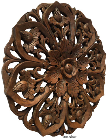 "Oriental Round Carved Wood Lotus Wall Decor. Teak Wood Wall Hanging. Rustic Home Decor. Brown 24"" Extra Thick"
