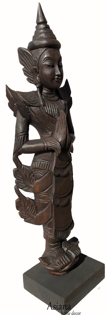 Clearance Sawaddee Welcome Asian Statue Carved Wood with Stand. Espresso