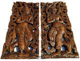 "Welcome Sign Thai Sawaddee Carved Wood Wall Art.  Size 17.5""x7.5""x1"" Each, Set of 2 pcs."