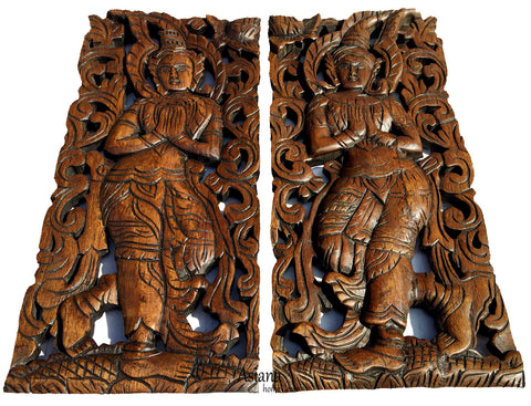 Thai wood carving oriental home decor rved wood panels u asiana