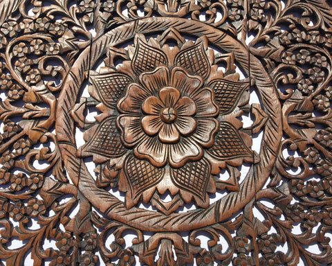Round Wood Carved Floral Rustic Home Decor Wall Art ...