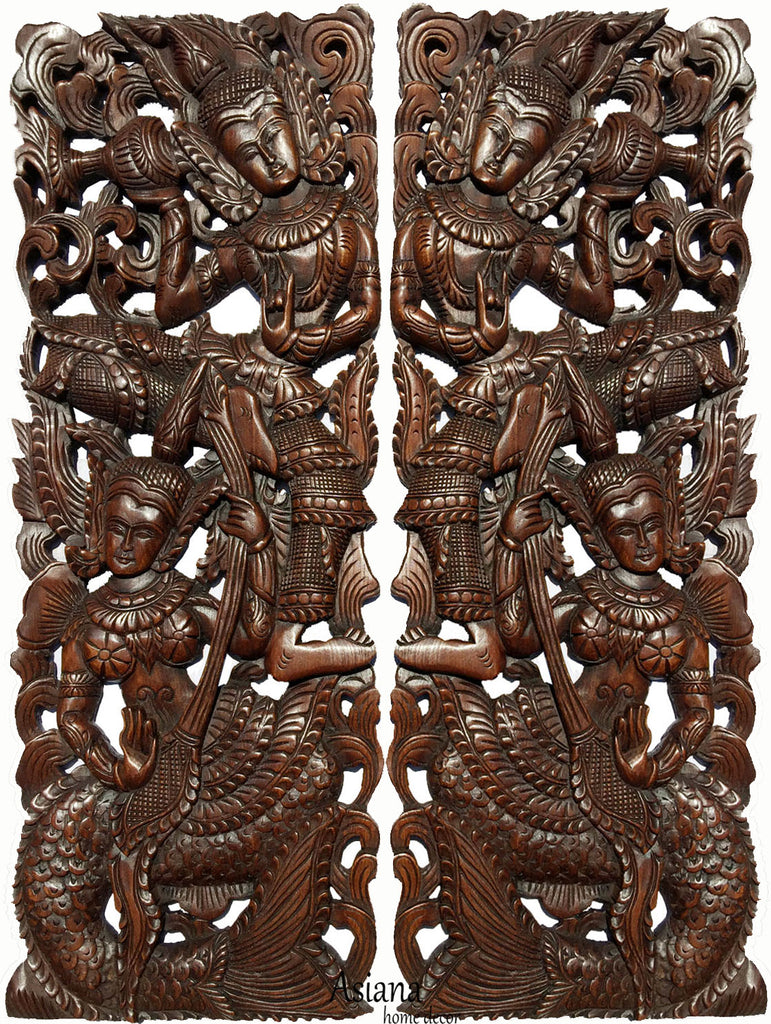 "Traditional Thai Figure Mermaid Carved Wood Wall Decor Panels. Asian Home Decor. Wood Carving Sculpture. Dark Brown Finish 35.5""x13.5""x1"". Set of 2 pcs"