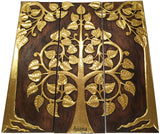 Clearance Asian Wood Sacred Fig Tree Relief Wall Art Panels. Elegant Gold leaf Wood Carved Wall Plaque. Dark Brown and Gold. Size Options Available.
