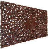"Headboard Floral Tropical Carved Wood Wall Panel. Balinese Wall Sculpture Panel. Size 27""x48"" Dark Brown"