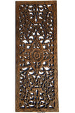 "Floral Wood Carved Wall Panel. Decorative Thai Wall Relief Panel Sculpture. Large Carved Wood Wall Panel 35.5""x13.5"" Color Options Available"