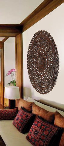 Wood Medallion Wall Decor elegant wood carved wall plaque.floral wood wall panels – asiana