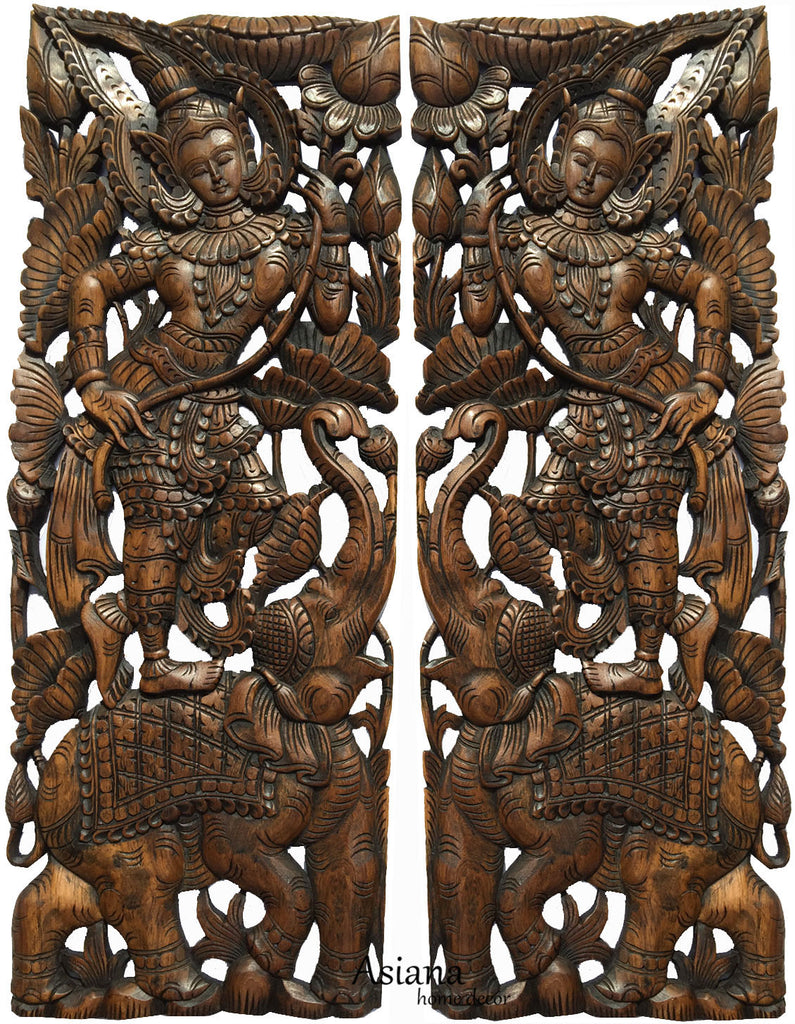 Asian carved wood wall art decoration asiana home decor thai figure and elephant carved wood panels large carved wood panels asian home decor amipublicfo Choice Image