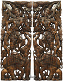 "Thai Figure and Elephant Carved Wood Panels. Large Carved Wood Panels. Asian Home Decor Wall Art. Brown Finish 35.5""x13.5""x1"" Each, Set of 2 pcs"
