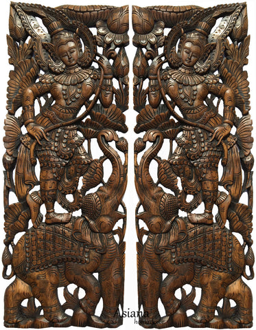 Thai Figure And Elephant Carved Wood Panels. Large Carved Wood Panels.  Asian Home Decor ...