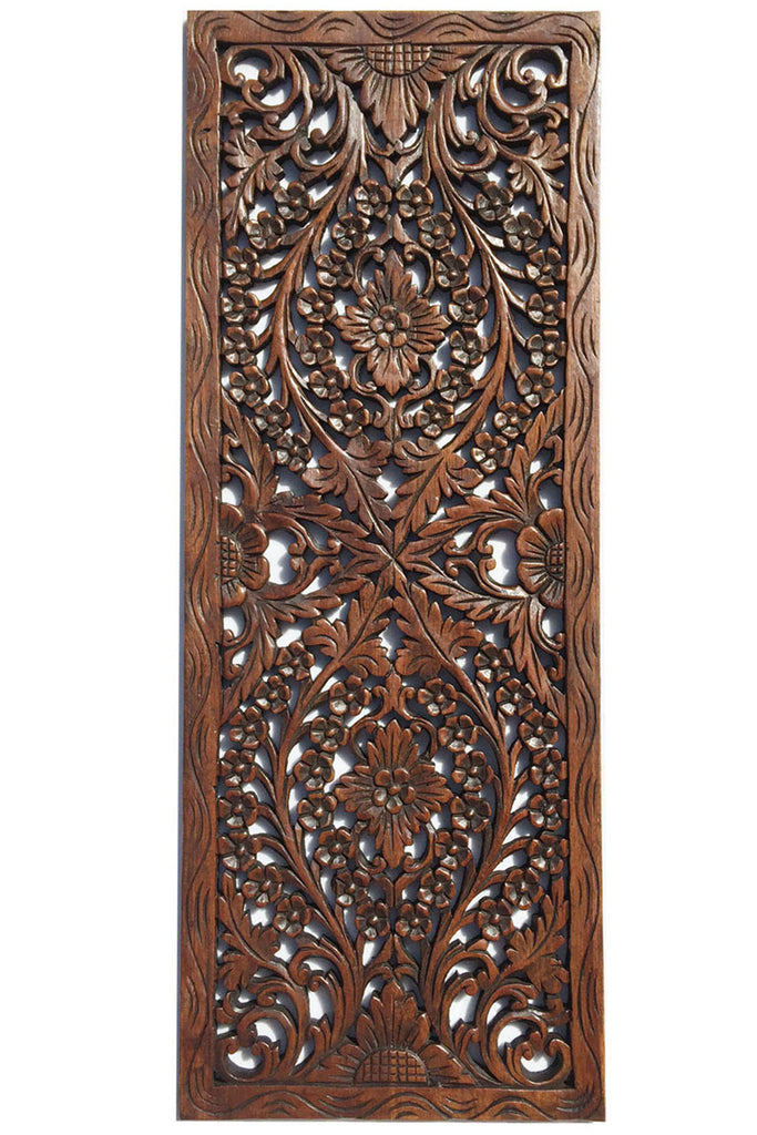 "Floral Wood Carved Wall Panel. Wall Hanging. Asian Home Decor. Decorative Thai Wall Relief Panel Sculpture. Large Wood Wall Plaque 35.5""x13.5""x0.5"" Color Options Available"