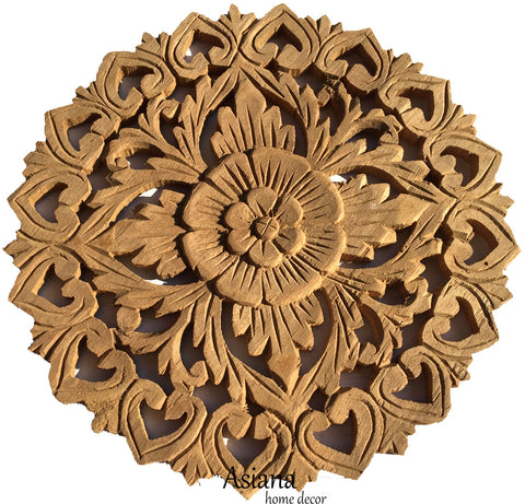 diy round carved wood floral wall decor natural wood color asiana