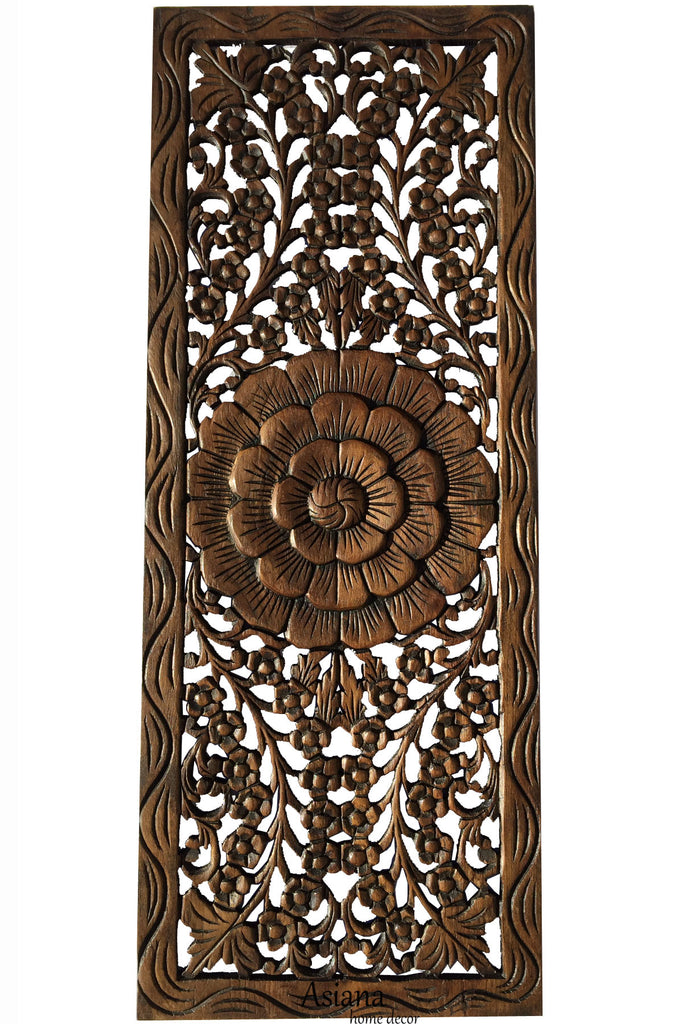 Floral jasmine wood carved wall panel hanging