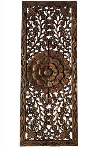 "Floral Jasmine Wood Carved Wall Panel. Wall Hanging. Wall Art Relief Panel Sculpture. Large Carved Wood Wall Panel. Size 35.5""x13.5"" Dark Brown"