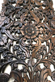 "Floral Wood Carved Wall Panel. Asian Home Decor Wall Hanging. Decorative headboard Relief Panel Sculpture. Dark Brown Finish 35.5""x13.5""x0.5"""