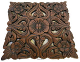 "Oriental Rustic Wood Wall Plaque Home Decor. Tropical Carved Wood Decorative Wall Hanging. Set of 3. 12"" Square Color Options Available"