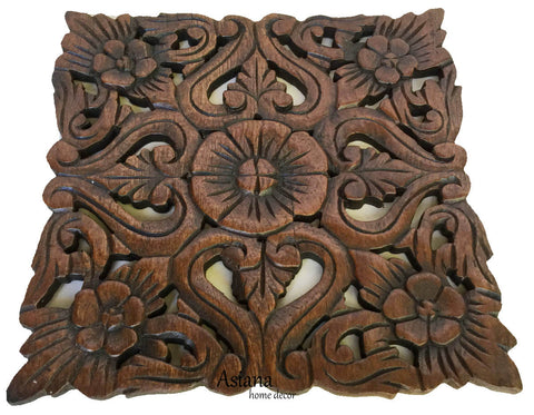 ... Wood Plaque Oriental Carved Lotus. Rustic Wall Decor. Hand Carved Wall Art Decor Panel ...  sc 1 st  Asiana Home Decor & Teak Wood Carved Wall Plaques. Floral Wood Wall Panels. Wall ...