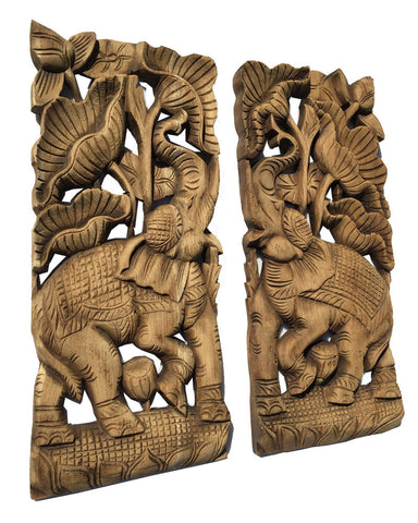 Clearance Tropical Home Decor Elephant With Lotus Flower Wall Decor Teak Wood Wall Art 17 5 X7 5 X1 Each Set Of 2 Pcs Available In Brown And