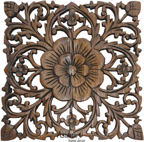 Teak Wood Carved Wall Plaques. Floral Wood Wall Panels. Wall ...