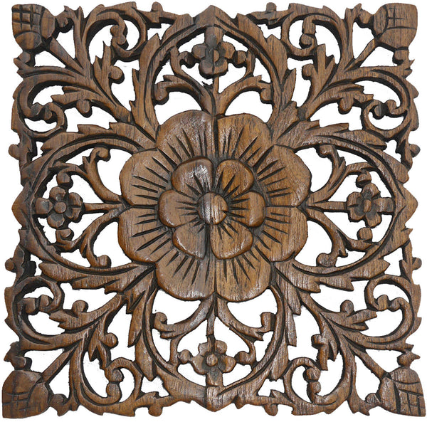 Wood plaque oriental carved lotus rustic wall decor hand