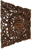 "Oriental Floral Carved Teak Wood Wall Art Plaque. Square Rustic Home Decor. 24""x24""x1"" Extra Thick Brown"