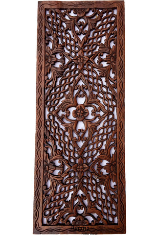 "Floral Tropical Wood Carved Wall Art Panel. Asian Home Decor Size 35.5""x13.5""  Brown"