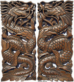 "Chinese Dragon Wood Carved Wall Art Panels. Unique Asian Home Decor. 17.5""x7.5""x1"" Each, Set of 2 pcs. Available Color Options"