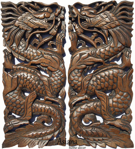 "Clearance Chinese Dragon Wood Carved Wall Art Panels. Unique Asian Home Decor. 17.5""x7.5""x1"" Each, Set of 2 pcs. Available Color Options"