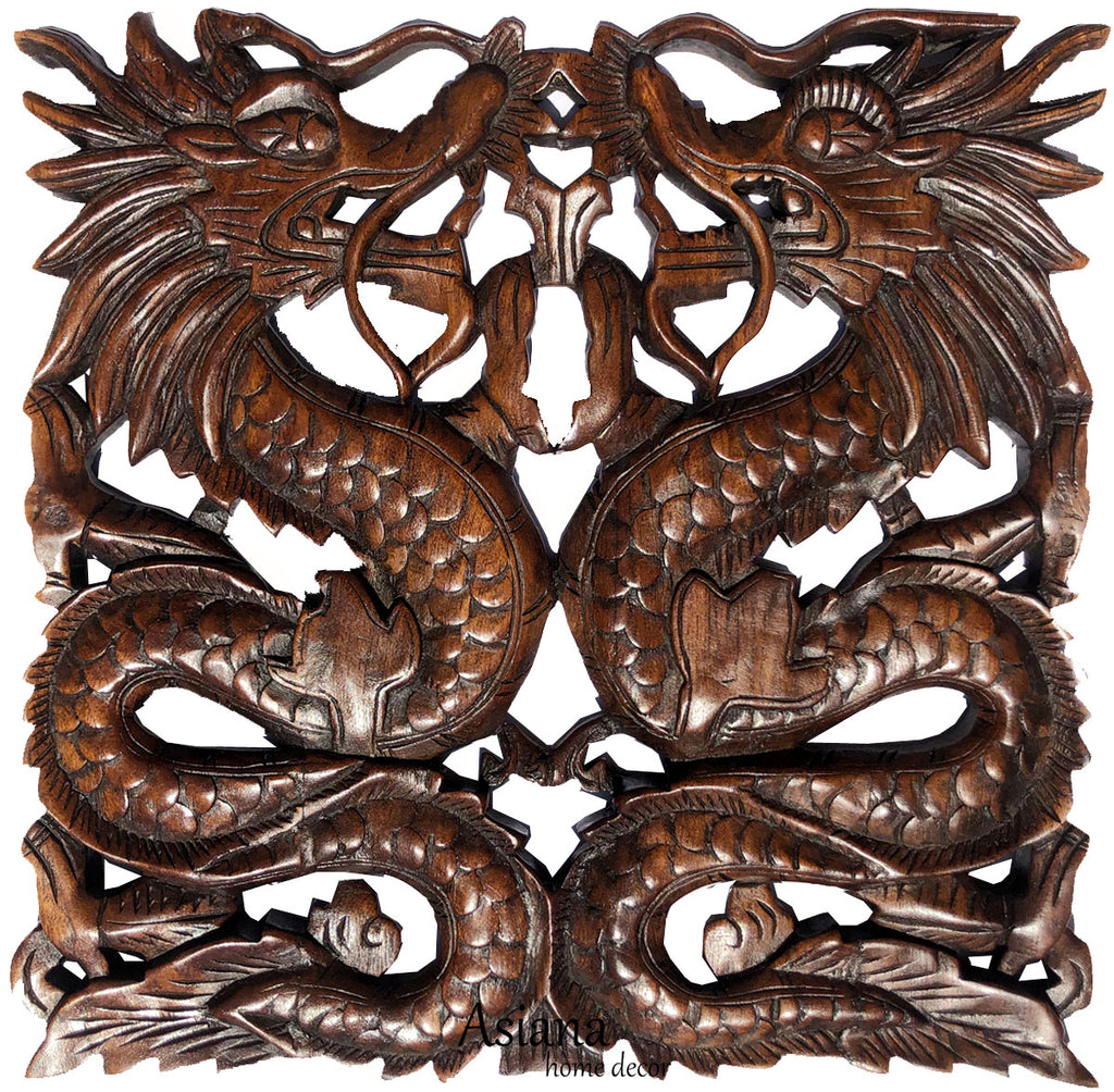 "Chinese Dragon Wood Carving Wall Art Square Plaque. Dark Brown Finish. Size 17.5""Extra Thick"