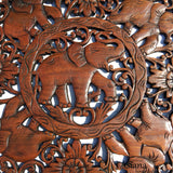 Round Carved Wood Elephant Wall Decor. Asian Home Decor. Thai Wall Relief Panel Sculpture. 24""