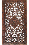 "Wood Carved Panel. Floral Carved Wood Wall Hanging. Dark Brown Finish Size 24""x13.5""x0.5"""