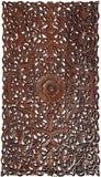 "Headboard Tropical Flower Carved Wood Wall Panel. Balinese Home Decor Size 27""x48"" Dark Brown"