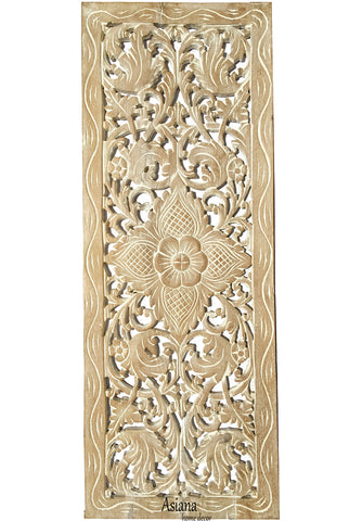 "Floral Wood Carved Wall Panel. Decorative Thai Wall Relief Panel Sculpture. Size 35.5""x13.5""Available Color Options"