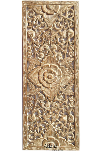 "Floral Tropical Wood Carved Wall Art. Wall Hanging. Coastal Home Decor. Large Wood Wall Plaque 35.5""x13.5""x0.5"" Color Options Available"