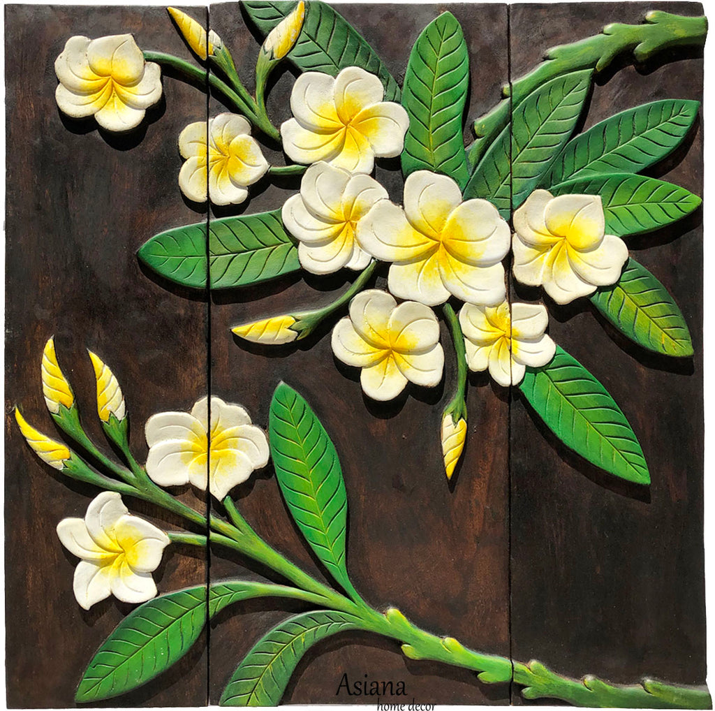 Clearance Plumeria Flower Wood Carved Wall Hanging. Dark Brown 27.5""