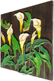 Clearance Flying Bird Calla Lily Flower Wood Carved Wall Hanging. Dark Brown 27.5""