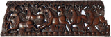 "Running Horse Feng Shui Symbol Wood Carved Wall Panel. Asiana Chinese Home Decoration 35.5""x13.5""x0.5"" Extra Thick Dark Brown"