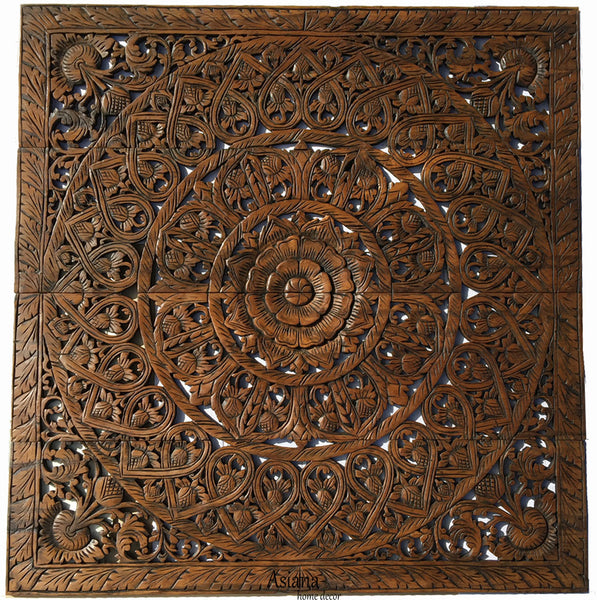 Elegant Wood Carved Foral Wall Plaque. Unique Asian Home