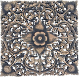 Rustic home decor asian carved wood wall plaque black wash
