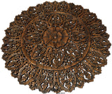 "Elegant Wood Carved Wall Plaque. Large Round Unique Thai Wood Carving Floral Wall Decor Panel. Available Size 36"" and 48"" Color Options Available"