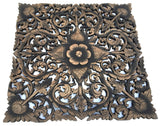 "Oriental Carved Floral Wall Decor. Unique Asian Wood Wall Art. Large Square Carved Wood Panel. Rustic Wall Decor. 24""x24""x0.5"" Black Wash"