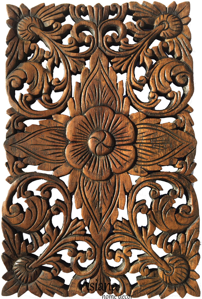 Wood Wall Decor Lotus Flower.Oriental Home Decor. Decorative Wall Panel  Sculpture. Hand