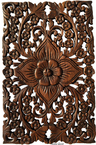 wood wall decor lotus floweroriental home decor decorative wall panel sculpture teak