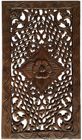 "Wood Carved Panel. Rustic Home Decor Floral Teak Wood Wall Hanging in Dark Brown Finish Size 24""x13.5""x0.5"""
